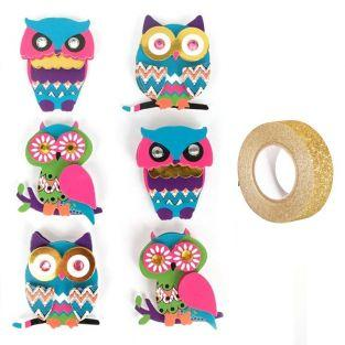 3D stickers Owls 4,5 cm x 6 + Golden...