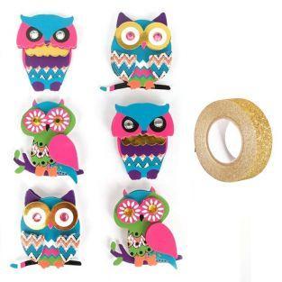 6 stickers 3D hibou & chouette 4,5 cm...