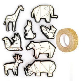 8 stickers 3D animaux du zoo 6 cm +...
