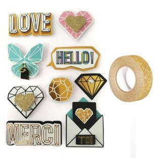 9 pegatinas 3D Hello Love 5,5 cm +...