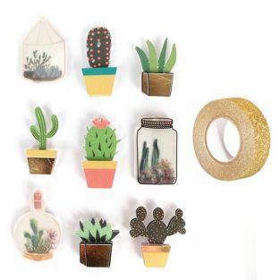 9 adhesivos 3D botánico y...