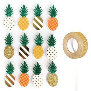 12 pegatinas 3D Piña 4,5 cm + Masking...
