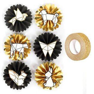 3D-AufKleber Tiere & Origami + Golden...