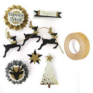 6 stickers 3D rennes de Noël 6,5 cm +...