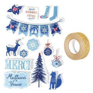 14 stickers 3D de Noël Hiver givré...