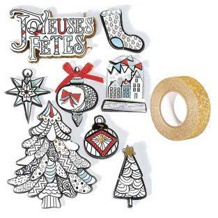 8 stickers 3D de Noël Hiver blanc 8...