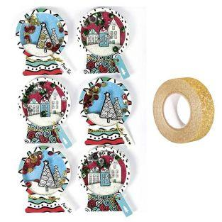 6 stickers 3D de Noël Boules de neige...