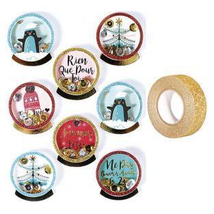 8 stickers 3D de Noël Pingouins 4 cm...