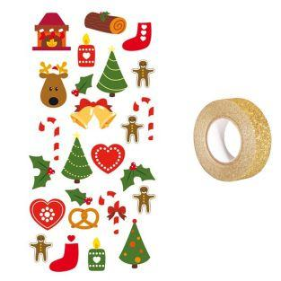 3D Stickers Christmas trees + Golden...