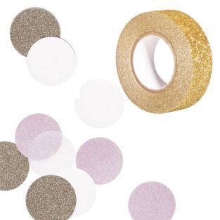 30 Konfetti rosa & gold + Golden...