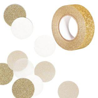30 Confettis beige & gold + Golden...