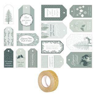 15 Christmas gift tags Misty Winter +...