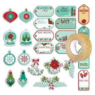 24 étiquettes perforées Joyeux Noël +...