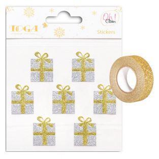 Pegatinas regalos dorados y plateados...