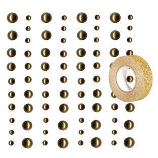 80 perles adhésives doré clair +...