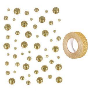 54 Tropfen Emaille golden + Golden...
