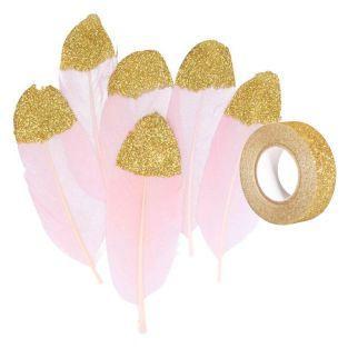 6 plumas de color rosa pálido con...