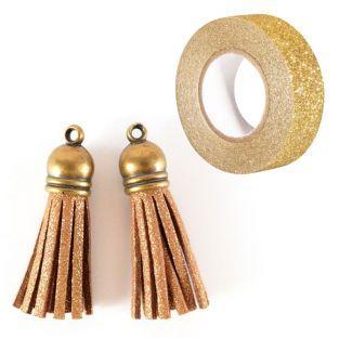 2 suede Tassels 4 m Golden + Golden...