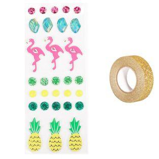 30 3D-Aufkleber Flamingos und Ananas...