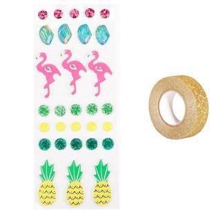 30 3D stickers flamingos...