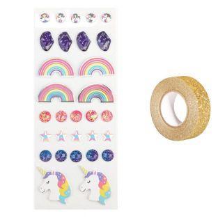 30 stickers 3D Arc-en-Ciel + masking...