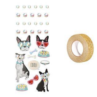 33 pegatinas 3D Perro con gafas +...