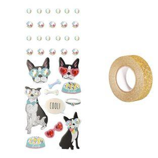 33 stickers 3D Chien à lunettes +...