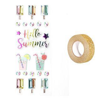 22 3D-Aufkleber Hallo Sommer + Golden...