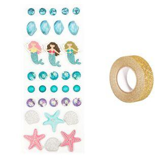 26 3D stickers Mermaid + Golden...