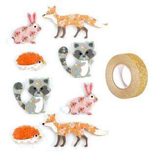 8 3D-Aufkleber Tiere des Waldes +...