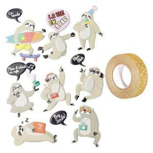 15 stickers 3D Paresseux + masking...