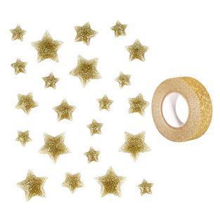22 étoiles en émail doré à paillettes...