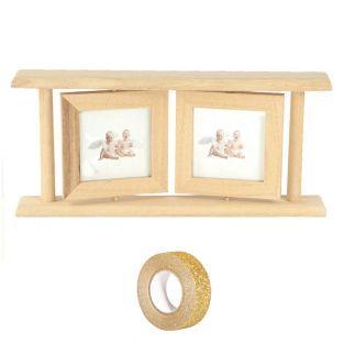 Doppia cornice in legno 25 x 12,5 cm...