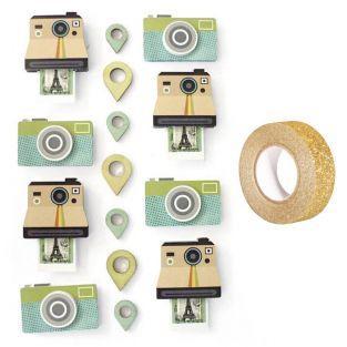 15 pegatinas polaroid efecto 3D +...