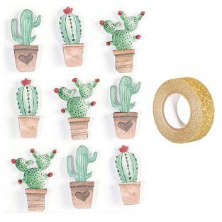 3D stickers x 9 Mexican cactus 4,5 cm...