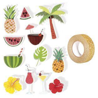 12 stickers 3D Tropical 5,5 cm +...