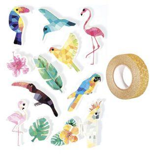 12 Aufkleber 3D Tropische Vögel 6 cm...