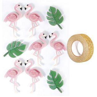 9 Aufkleber 3D Flamingos 5,5 cm +...