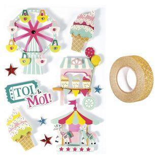 10 stickers 3D Fête foraine 6,5 cm +...