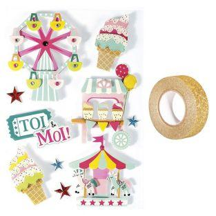 3D stickers x 10 Carnival 6,5 cm +...