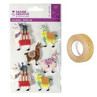 6 stickers 3D Lama 6 cm + masking...