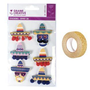 6 pegatinas 3D Sombreros mexicanos...
