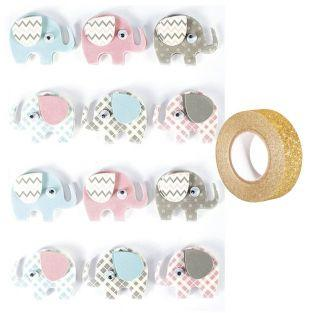 12 stickers 3D Elephants 4,3 cm +...