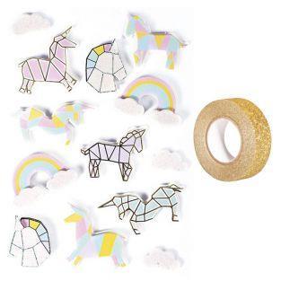 13 stickers 3D Licornes 5 cm +...