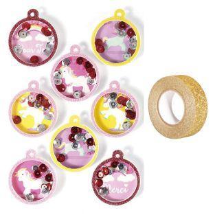 8 stickers 3D Boules Licorne 4,5 cm +...