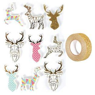 3D stickers x 9 Christmas reindeer 5...