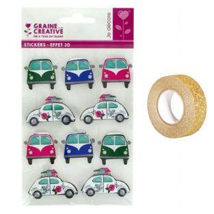 Pegatinas 3D coches + Masking tape...