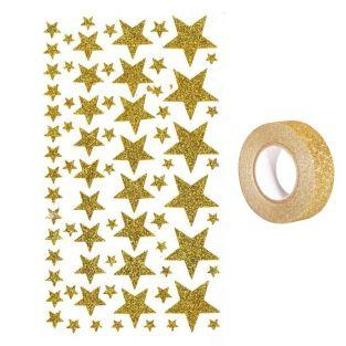 Sterne-Glitter Stickers Gold + Golden...
