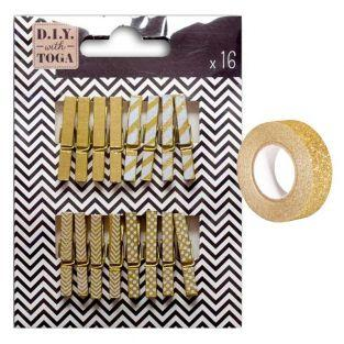 Mini golden clothespins + Golden...