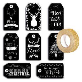 Etiquettes de Noël perforées noires +...